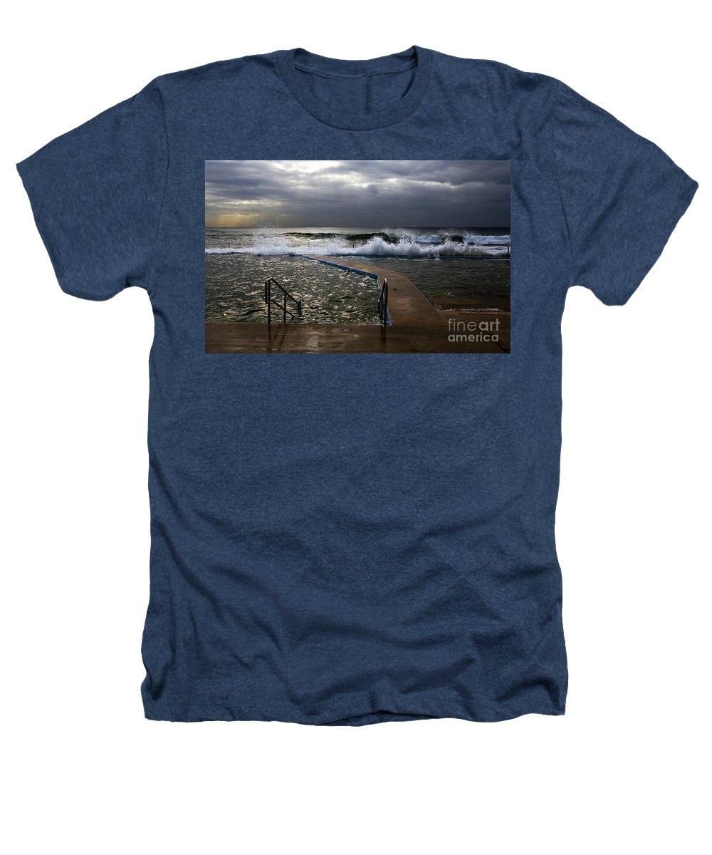 Storm Clouds Collaroy Beach Australia Heathers T-Shirt featuring the photograph Stormy Morning At Collaroy by Avalon Fine Art Photography
