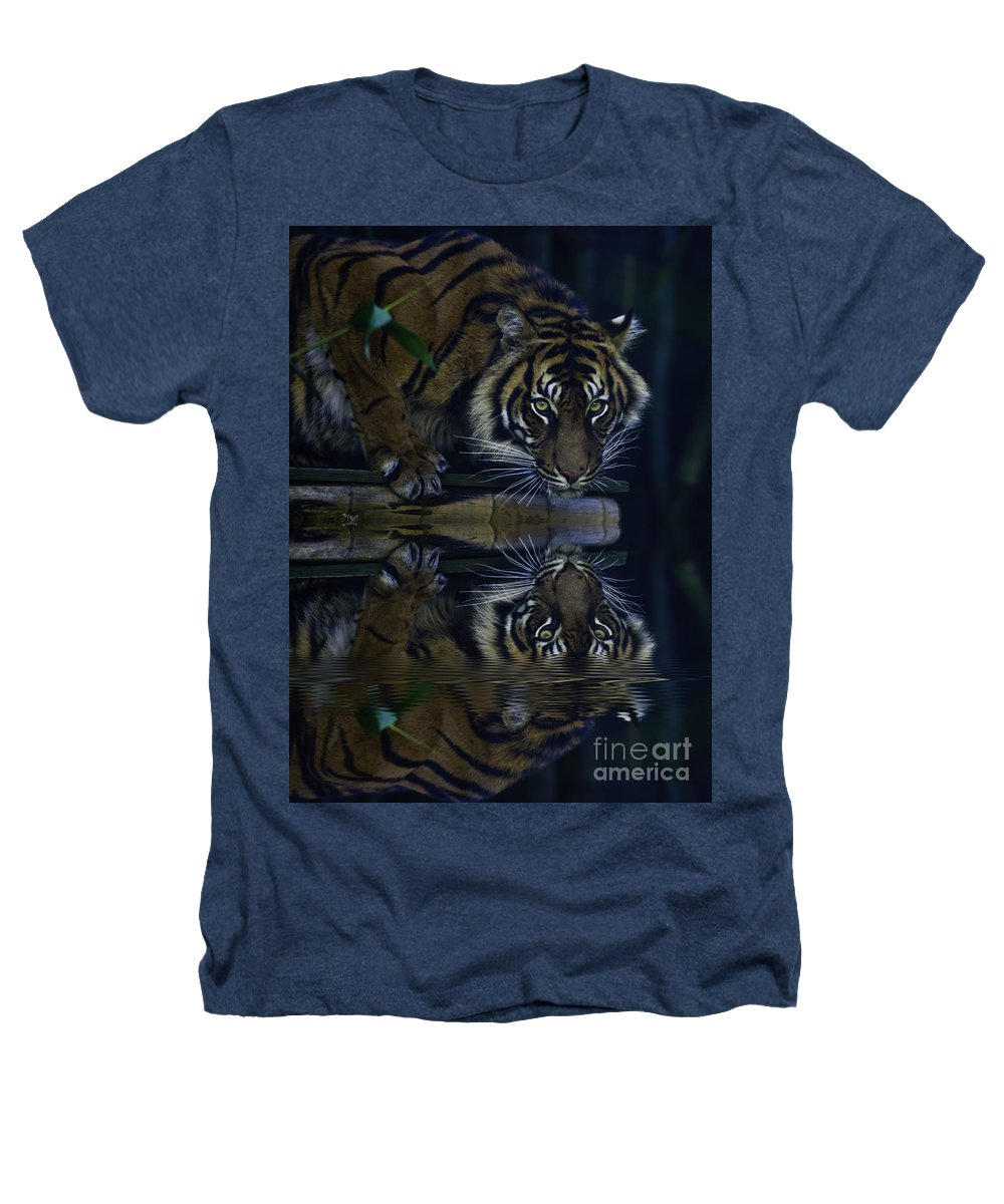 Sumatran Tiger Heathers T-Shirt featuring the photograph Sumatran Tiger Reflection by Sheila Smart Fine Art Photography