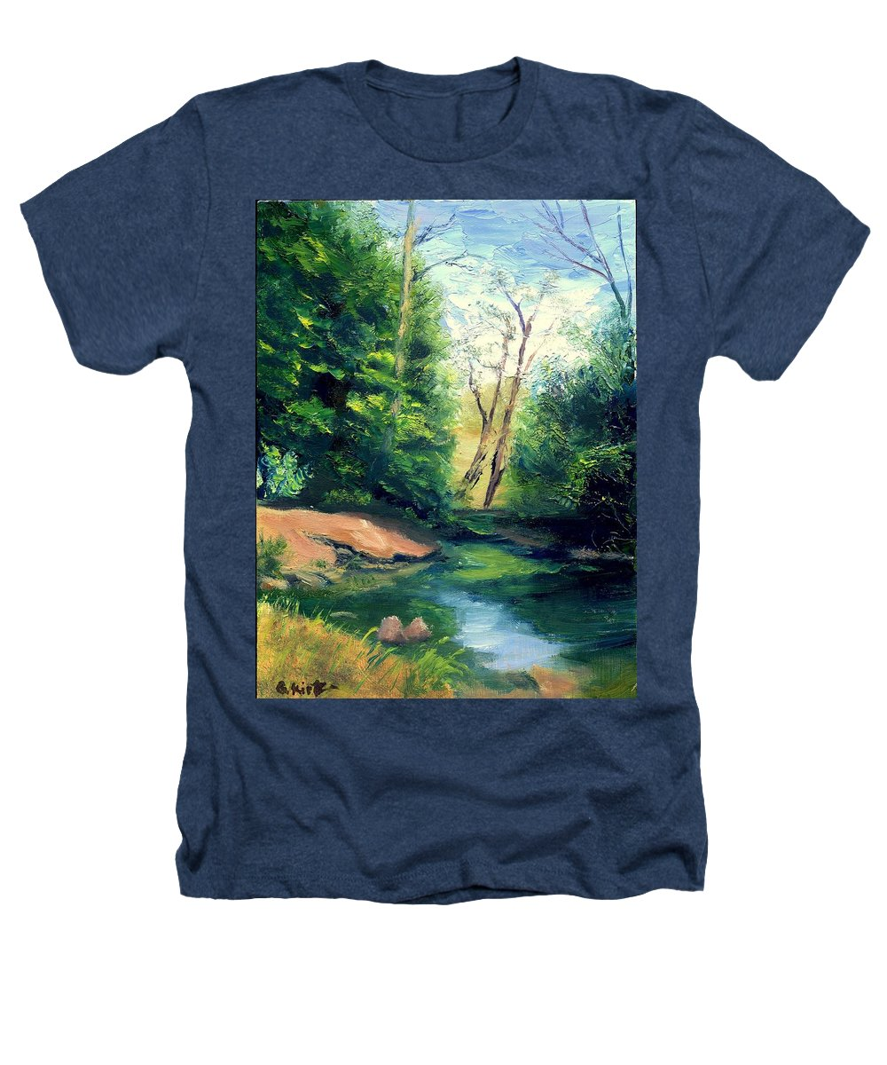 Landscape Heathers T-Shirt featuring the painting Summer At Storm by Gail Kirtz