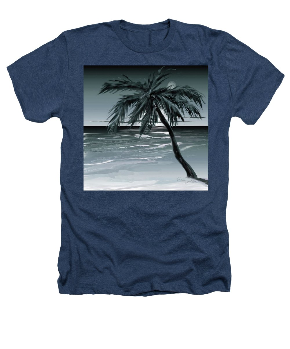 Water Beach Sea Ocean Palm Tree Summer Breeze Moonlight Sky Night Heathers T-Shirt featuring the digital art Summer Night In Florida by Veronica Jackson