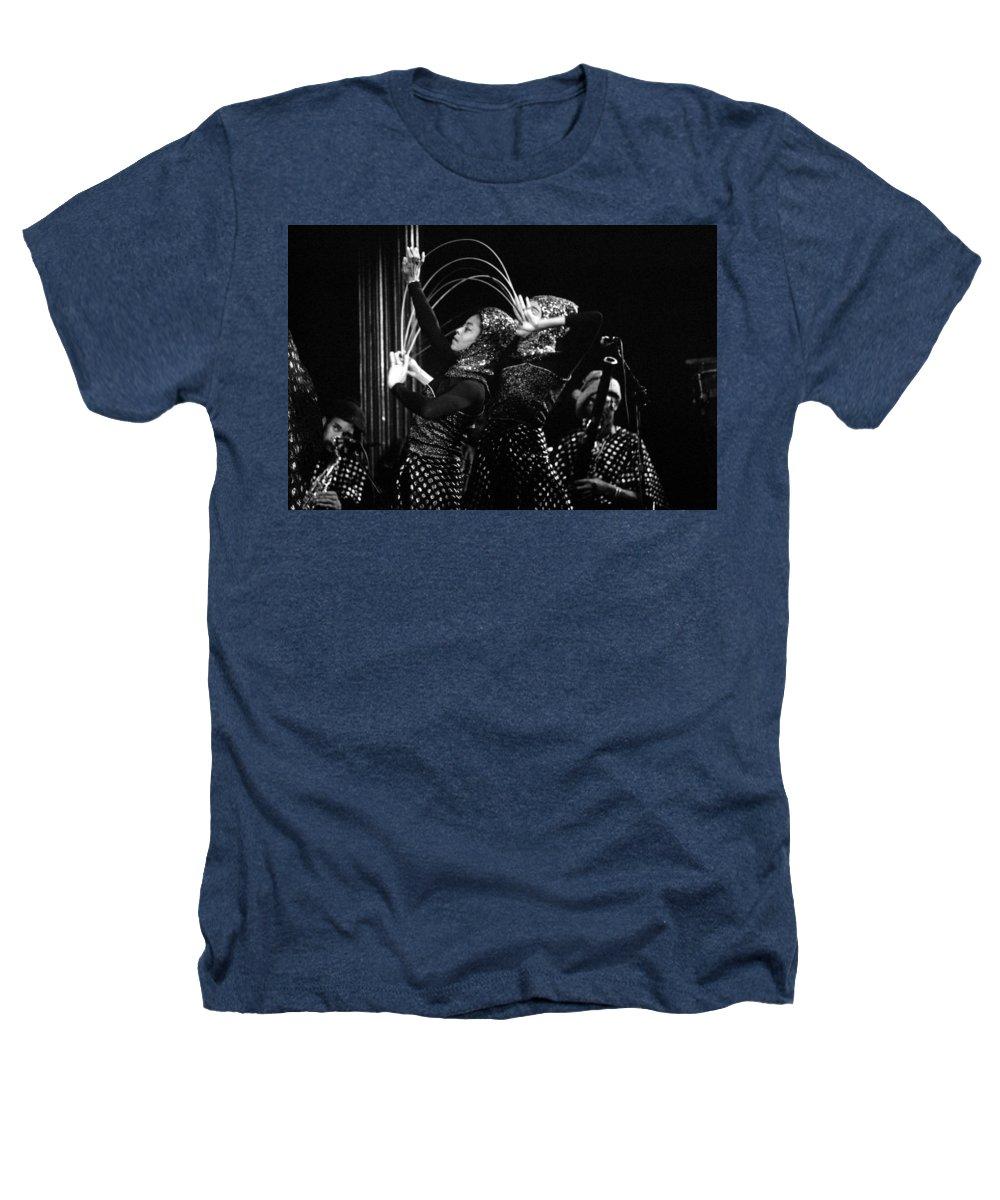 Sun Ra Heathers T-Shirt featuring the photograph Sun Ra Arkestra And Dancers by Lee Santa