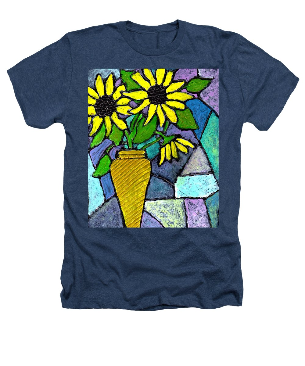 Flowers Heathers T-Shirt featuring the painting Sunflowers In A Vase by Wayne Potrafka