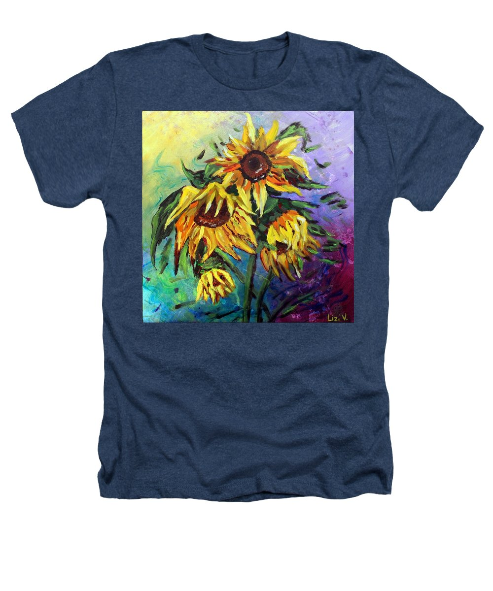 Art Heathers T-Shirt featuring the painting Sunflowers In The Rain by Luiza Vizoli