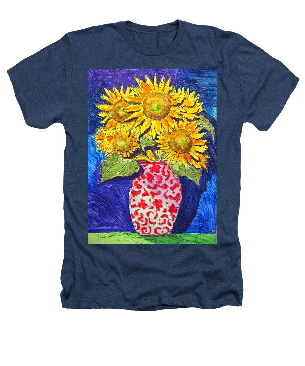 Sunflower Heathers T-Shirt featuring the painting Sunny Disposition by Jean Blackmer