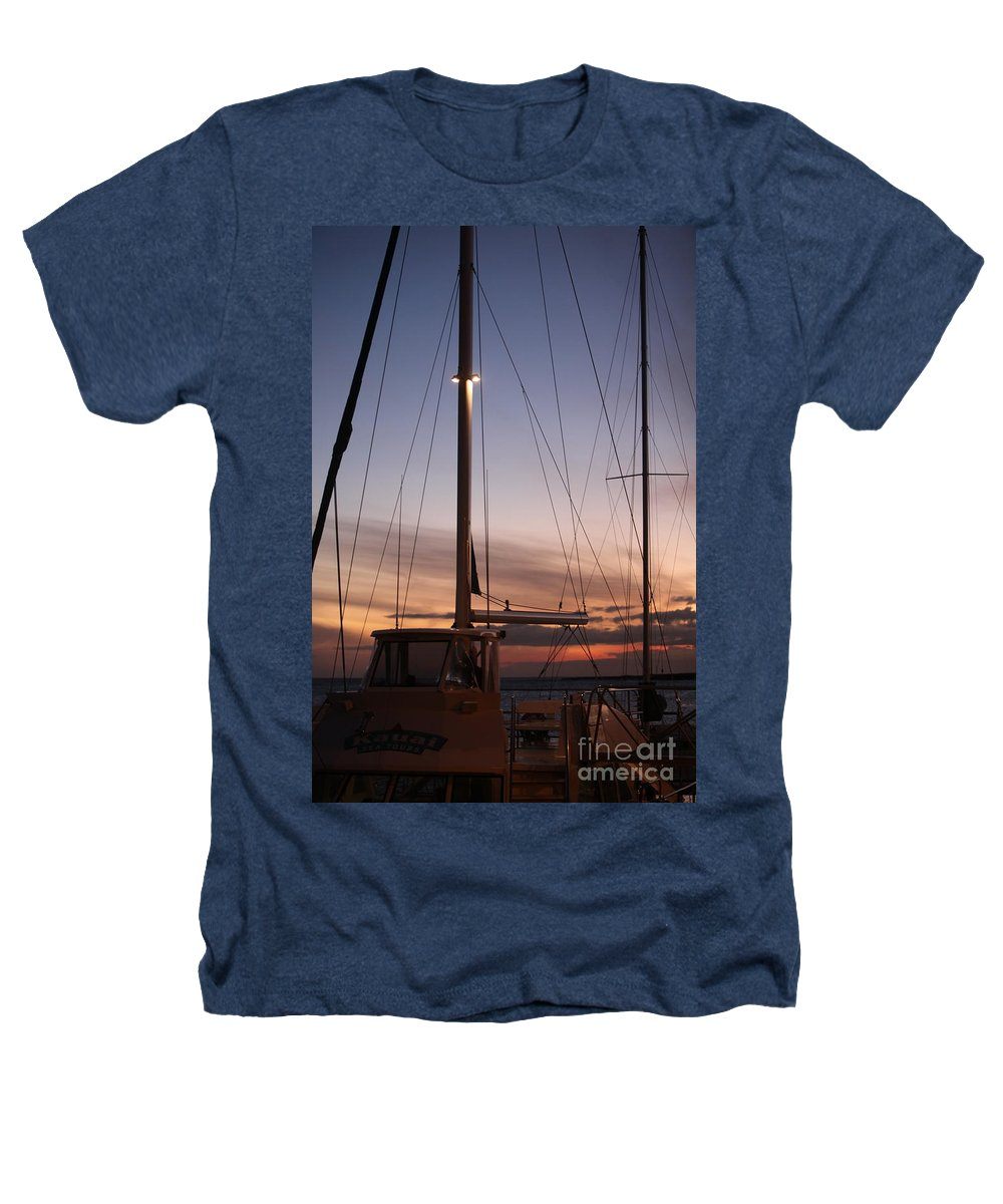 Sunset Heathers T-Shirt featuring the photograph Sunset And Sailboat by Nadine Rippelmeyer