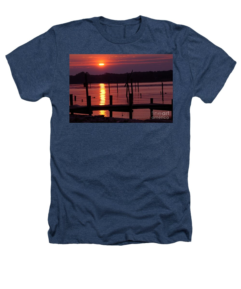 Clay Heathers T-Shirt featuring the photograph Sunset At Colonial Beach by Clayton Bruster