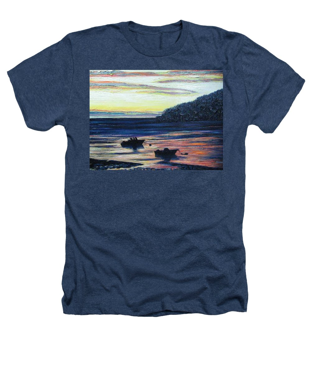 Maine Heathers T-Shirt featuring the painting Sunset On Maine Coast by Richard Nowak