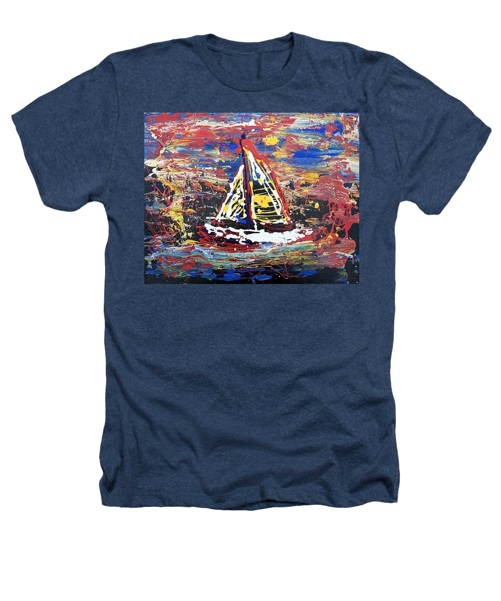 Sailboat Heathers T-Shirt featuring the painting Sunset On The Lake by J R Seymour