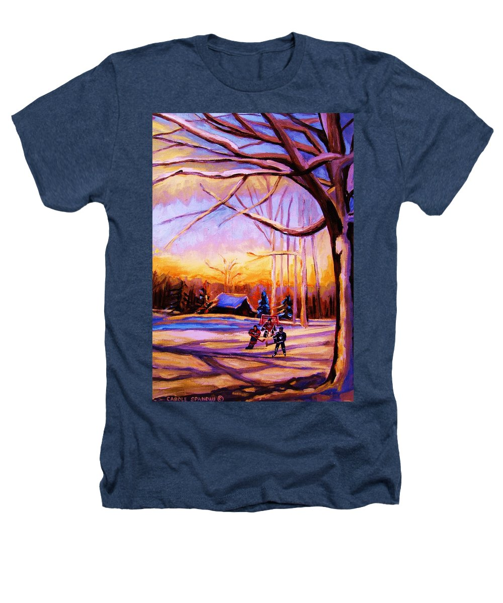 Sunset Over Hockey Heathers T-Shirt featuring the painting Sunset Over The Hockey Game by Carole Spandau