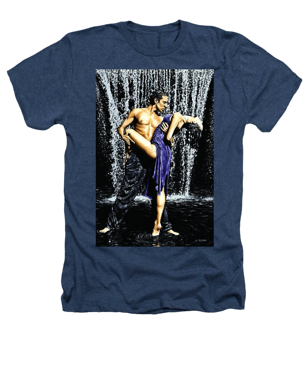 Tango Heathers T-Shirt featuring the painting Tango Cascade by Richard Young