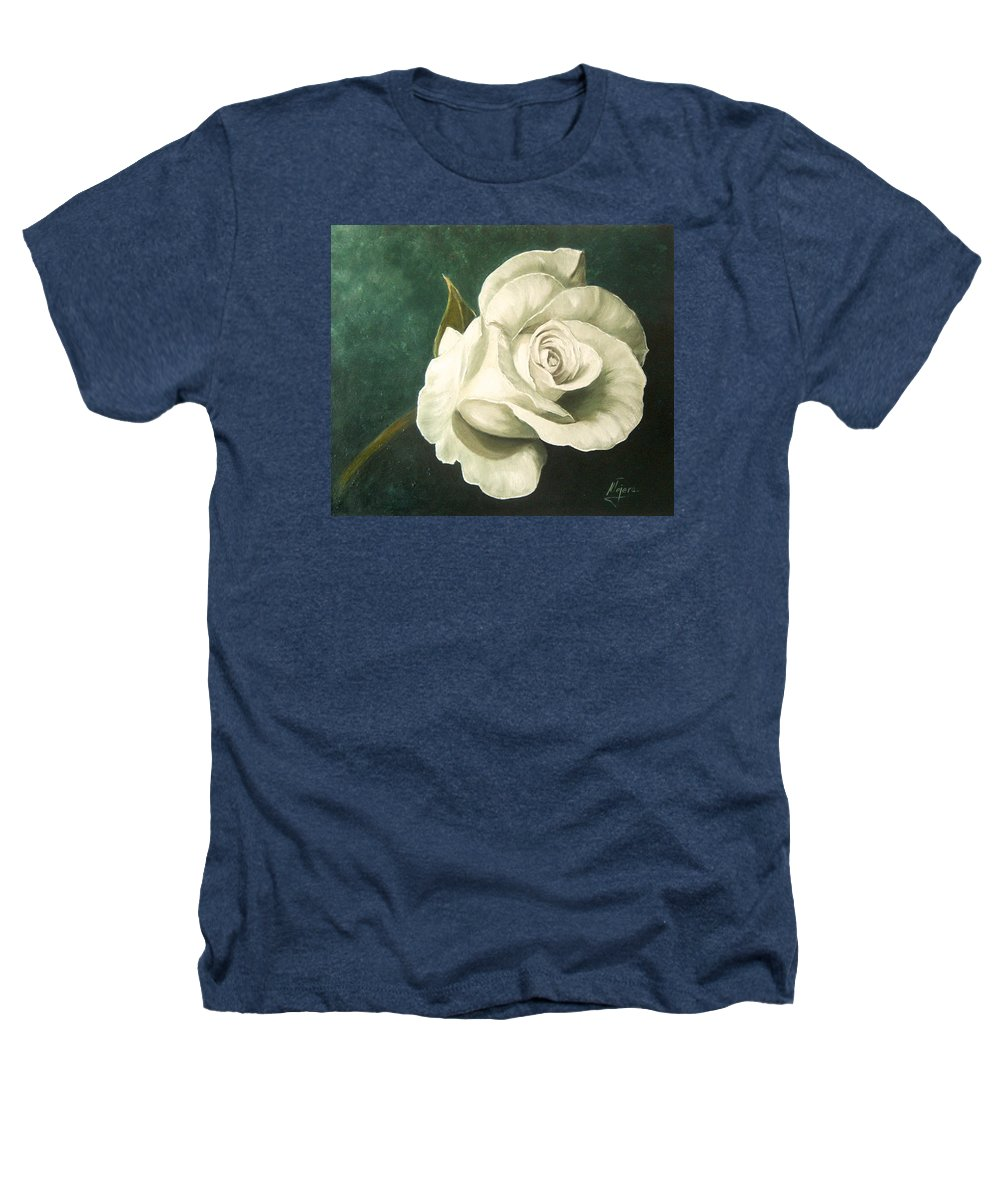Rose Flower Still Life White Heathers T-Shirt featuring the painting Tea Rose by Natalia Tejera