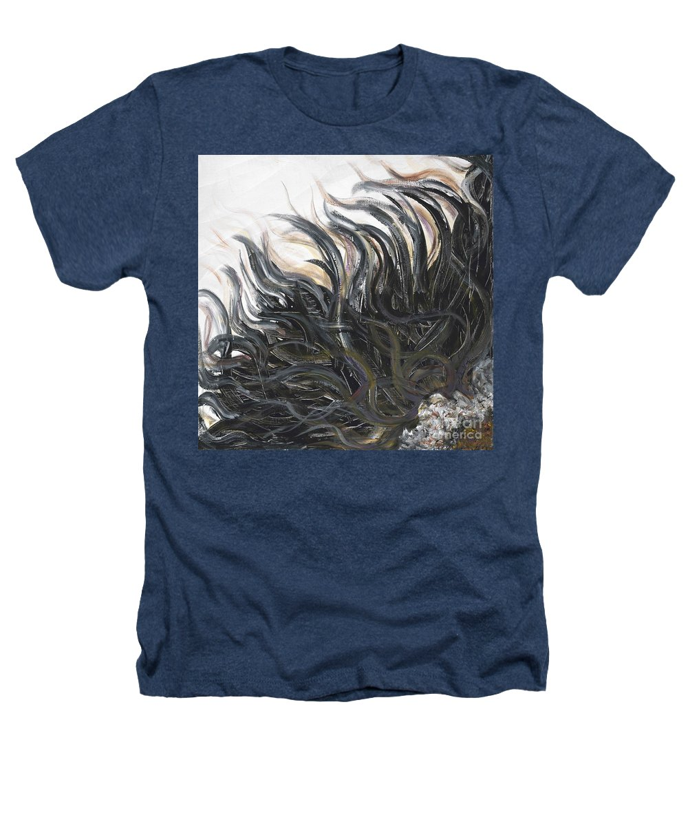 Texture Heathers T-Shirt featuring the painting Textured Black Sunflower by Nadine Rippelmeyer