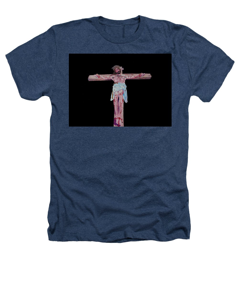 Crucifixion Heathers T-Shirt featuring the painting The Crucifixion by Stan Hamilton