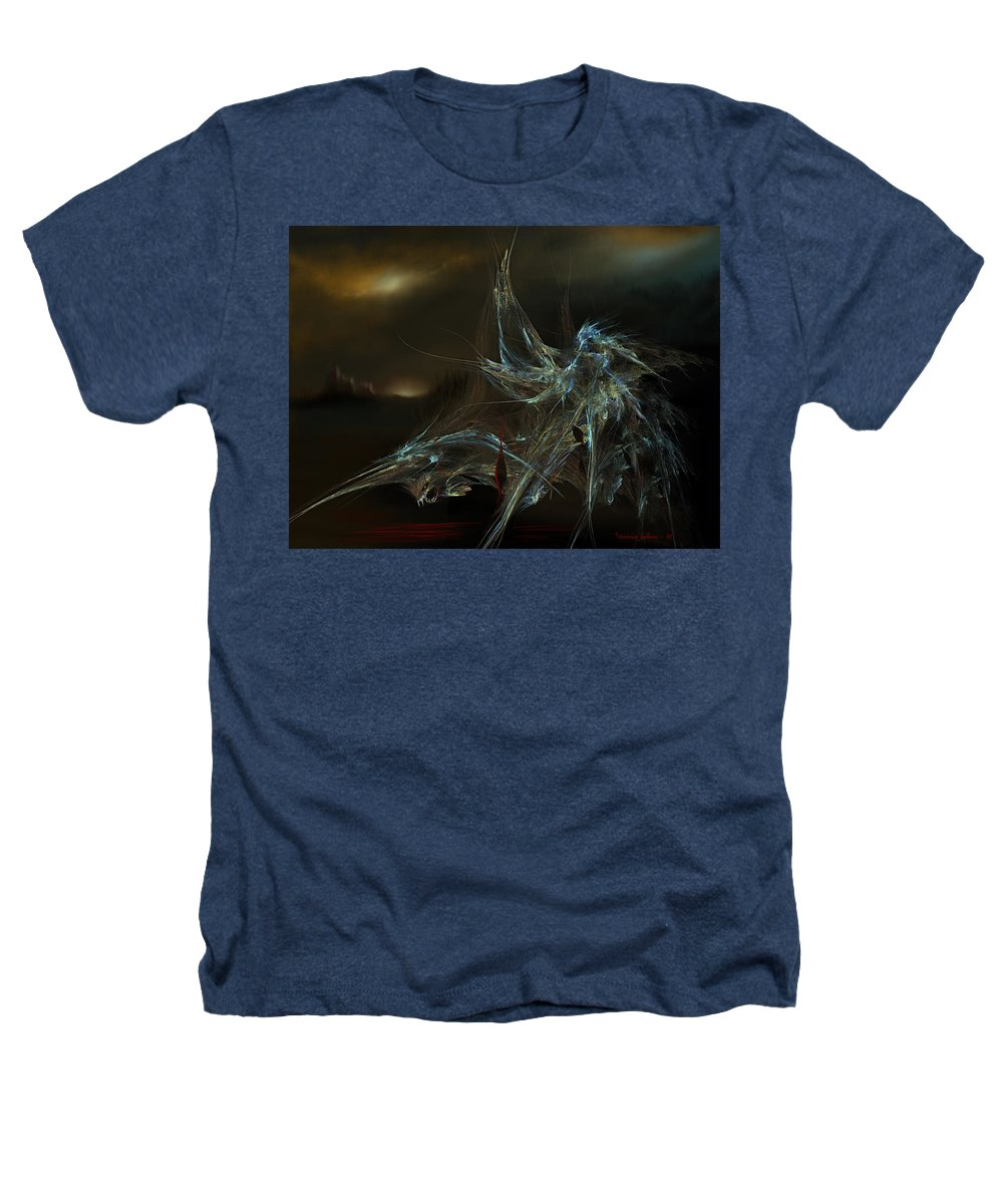 Dragon Warrior Medieval Fantasy Darkness Heathers T-Shirt featuring the digital art The Dragon Warrior by Veronica Jackson