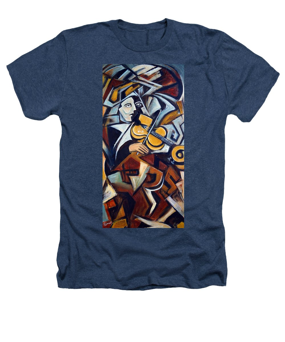 Musician Heathers T-Shirt featuring the painting The Fiddler by Valerie Vescovi