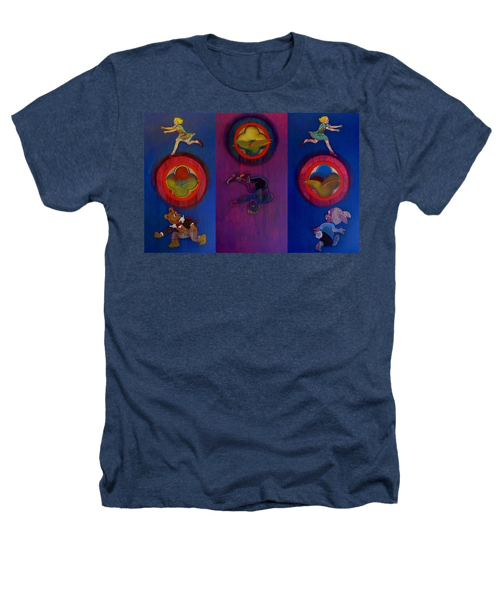 The Drums Of The Fruit Machine Stop At Random. Triptych Heathers T-Shirt featuring the painting The Fruit Machine Stops II by Charles Stuart