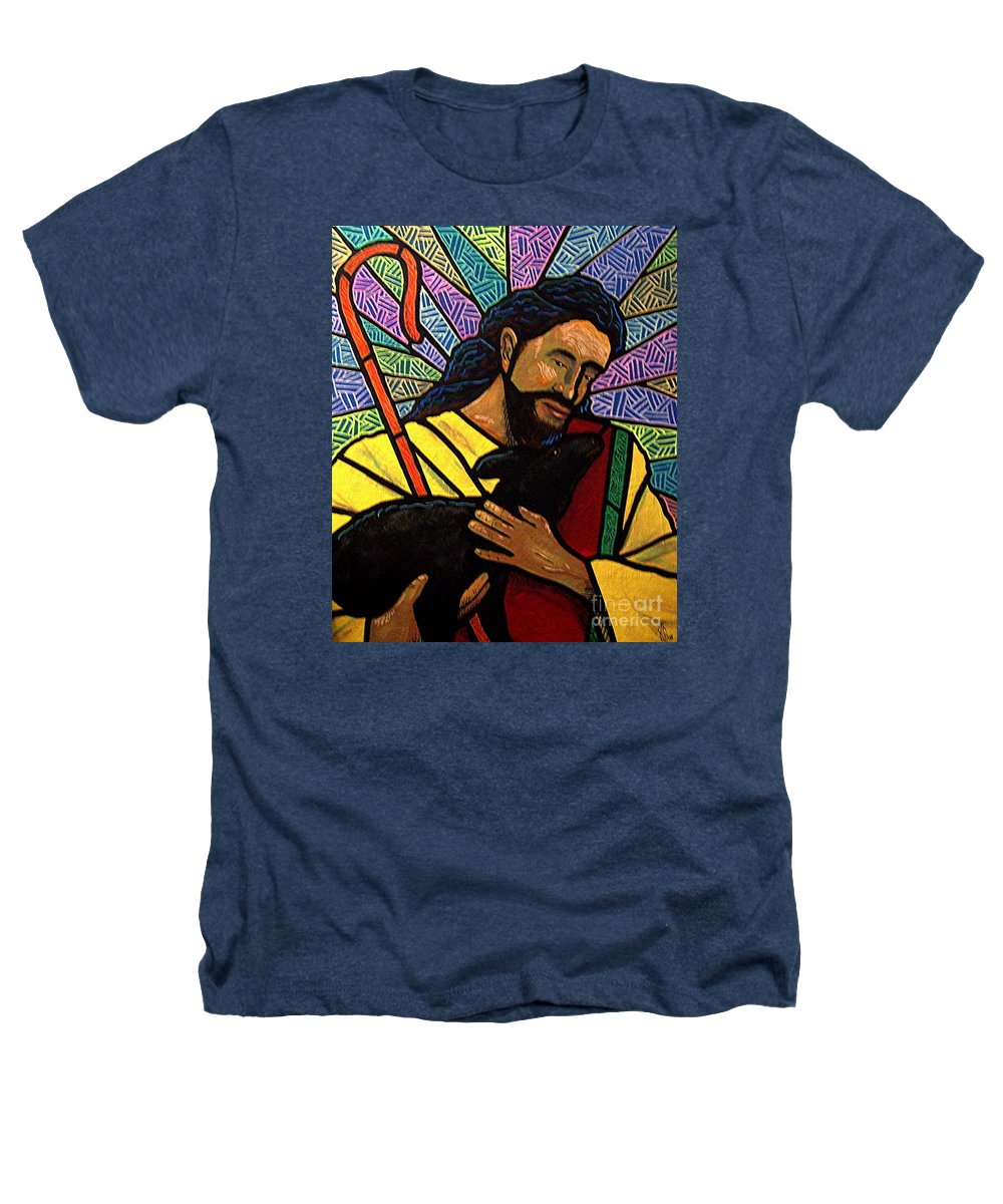 Jesus Heathers T-Shirt featuring the painting The Good Shepherd - Practice Painting One by Jim Harris