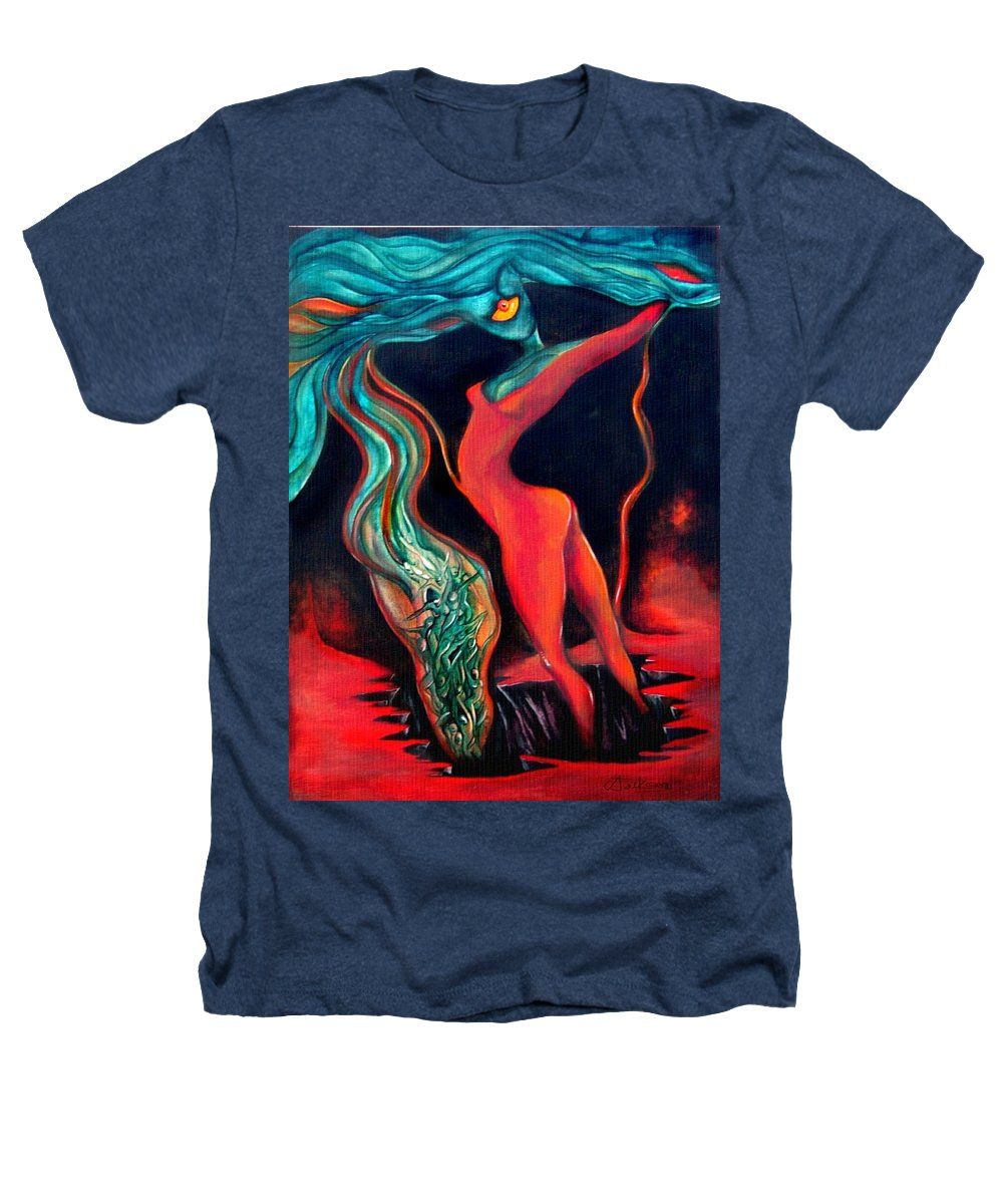 Surrealistic Harvest Red Hearth Woman Heathers T-Shirt featuring the painting The Harvest by Veronica Jackson