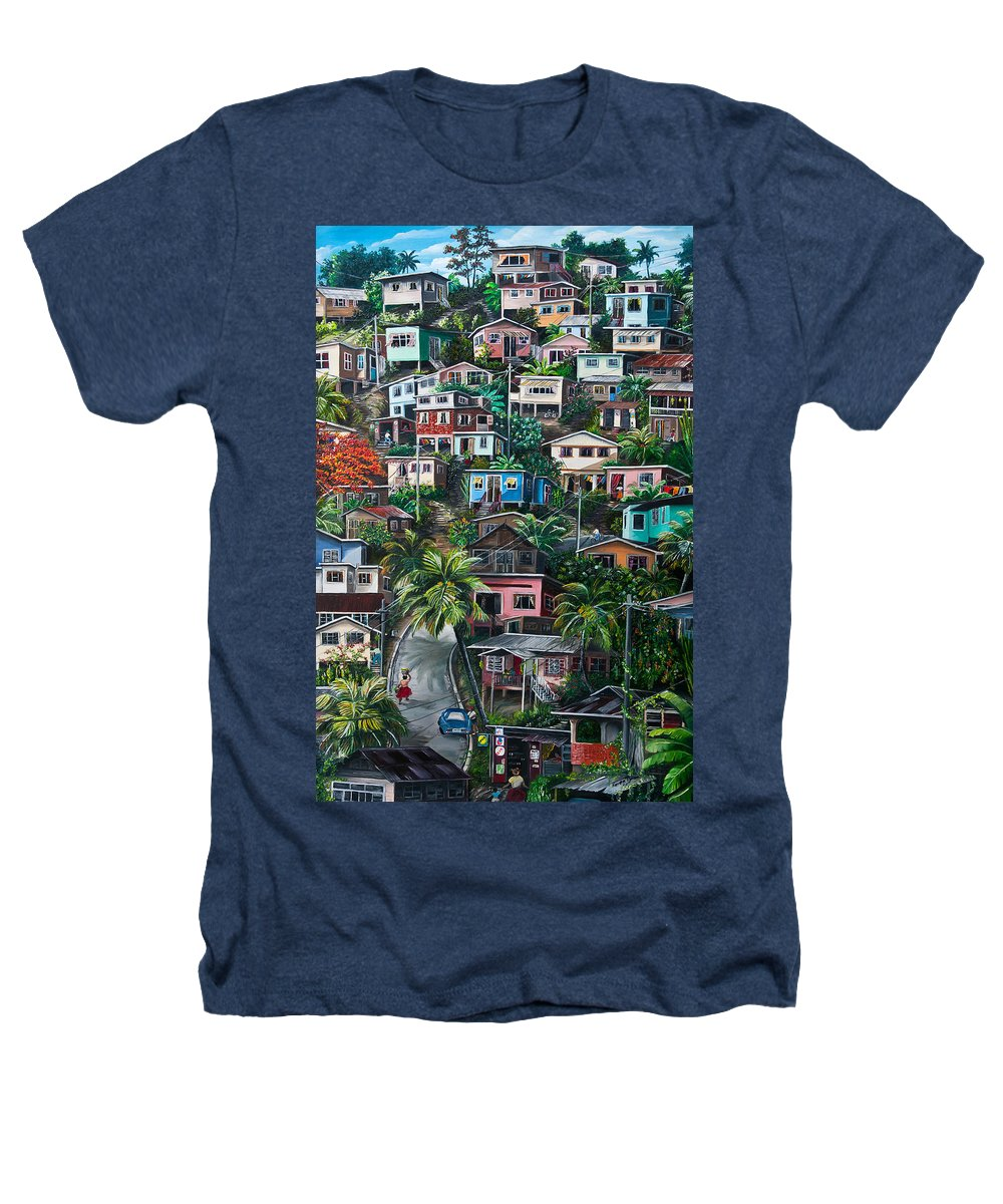 Landscape Painting Cityscape Painting Houses Painting Hill Painting Lavantille Port Of Spain Painting Trinidad And Tobago Painting Caribbean Painting Tropical Painting Caribbean Painting Original Painting Greeting Card Painting Heathers T-Shirt featuring the painting The Hill   Trinidad by Karin Dawn Kelshall- Best