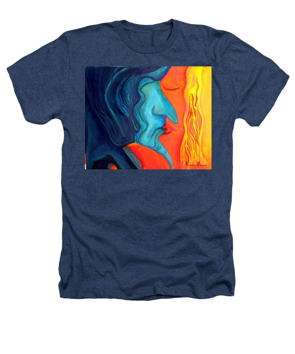Kiss Love Passion Couple Intensity Blue Orange Fire Lust Sex Heathers T-Shirt featuring the painting The Kiss by Veronica Jackson