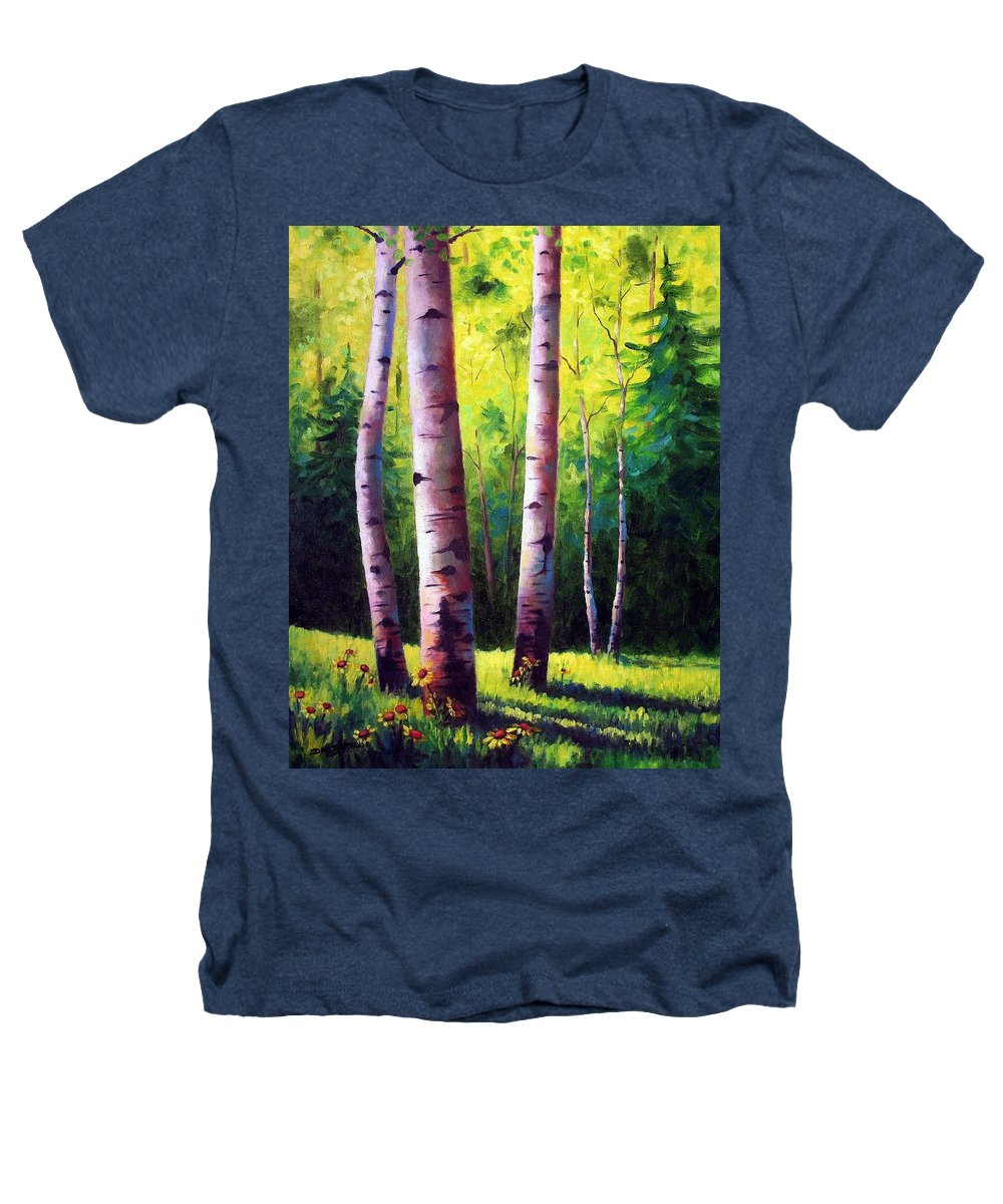Aspen Heathers T-Shirt featuring the painting The Light Of Spring by David G Paul