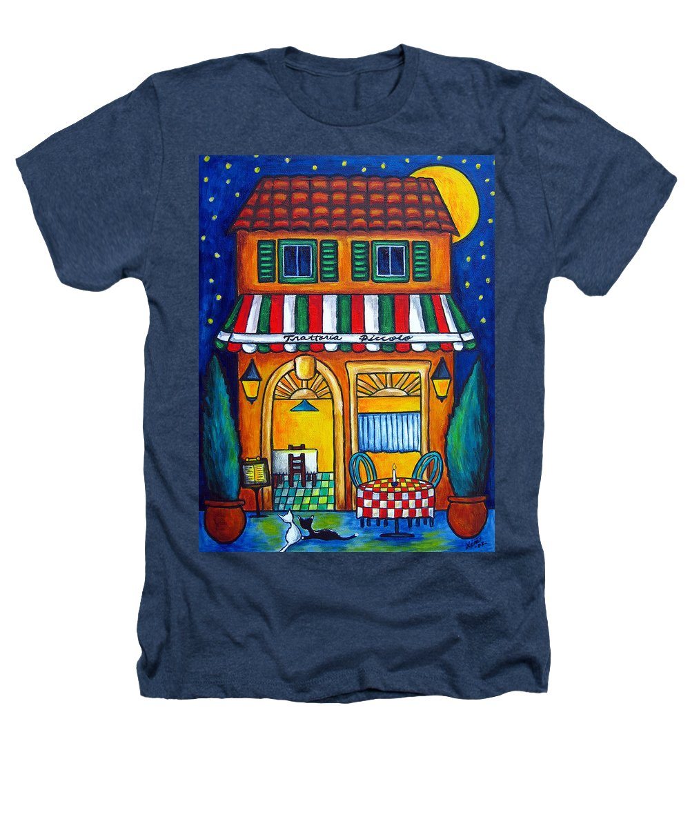Blue Heathers T-Shirt featuring the painting The Little Trattoria by Lisa Lorenz