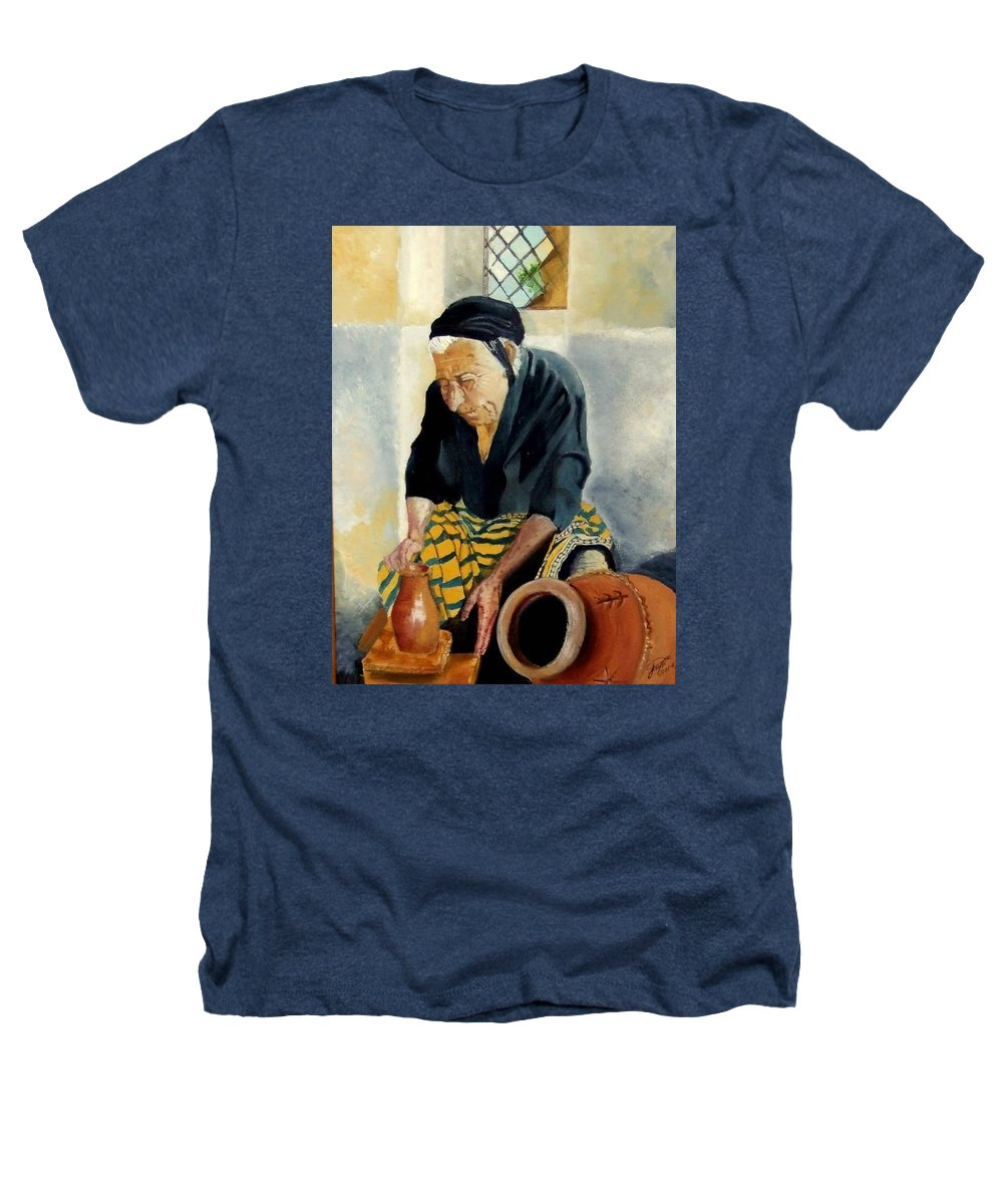 Old People Heathers T-Shirt featuring the painting The Old Potter by Jane Simpson