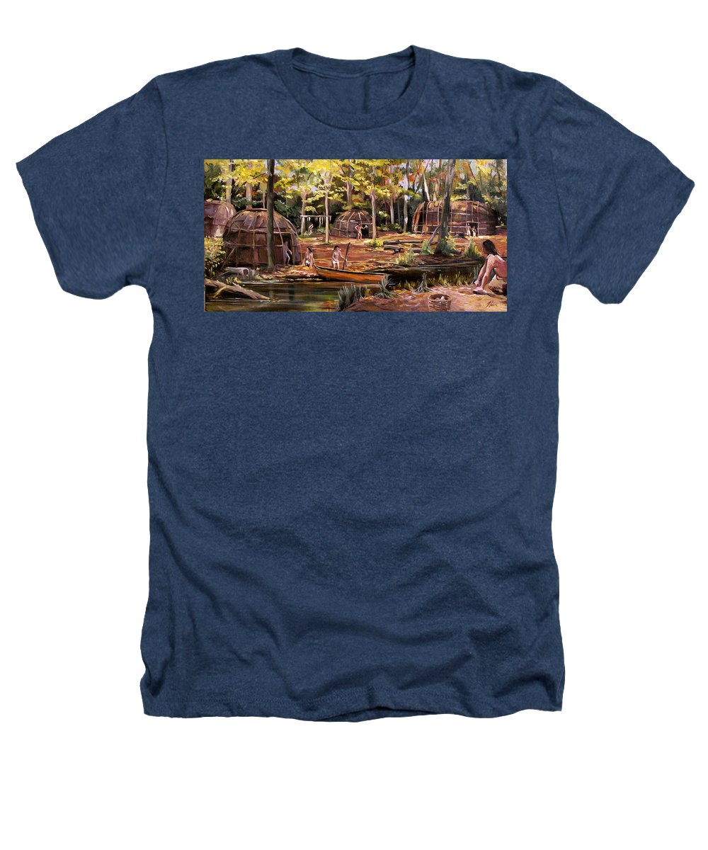 Institute Of American Indian Heathers T-Shirt featuring the painting The Pequots by Nancy Griswold