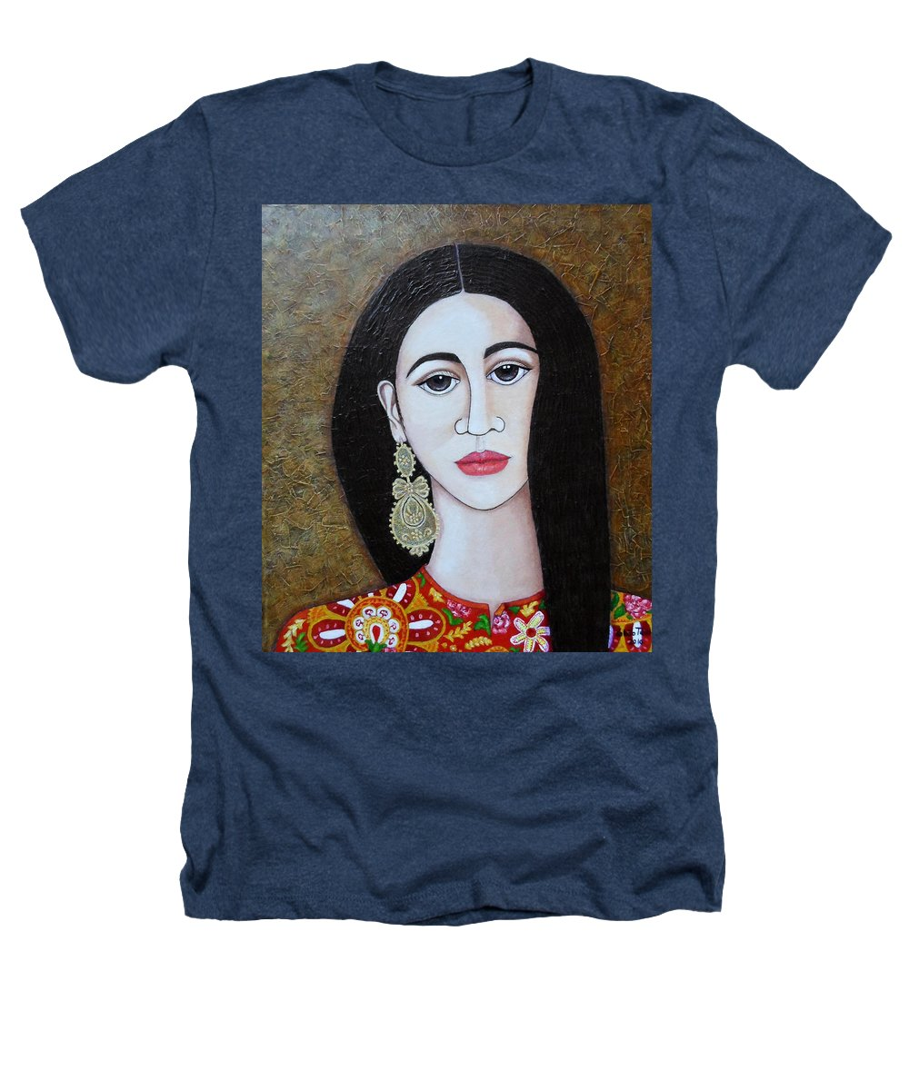 Woman Heathers T-Shirt featuring the painting The Portuguese Earring 2 by Madalena Lobao-Tello