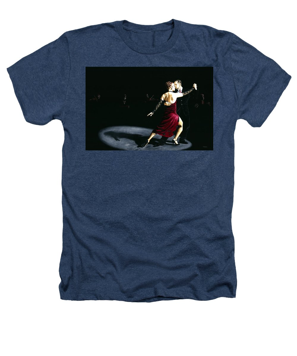 Tango Heathers T-Shirt featuring the painting The Rhythm Of Tango by Richard Young
