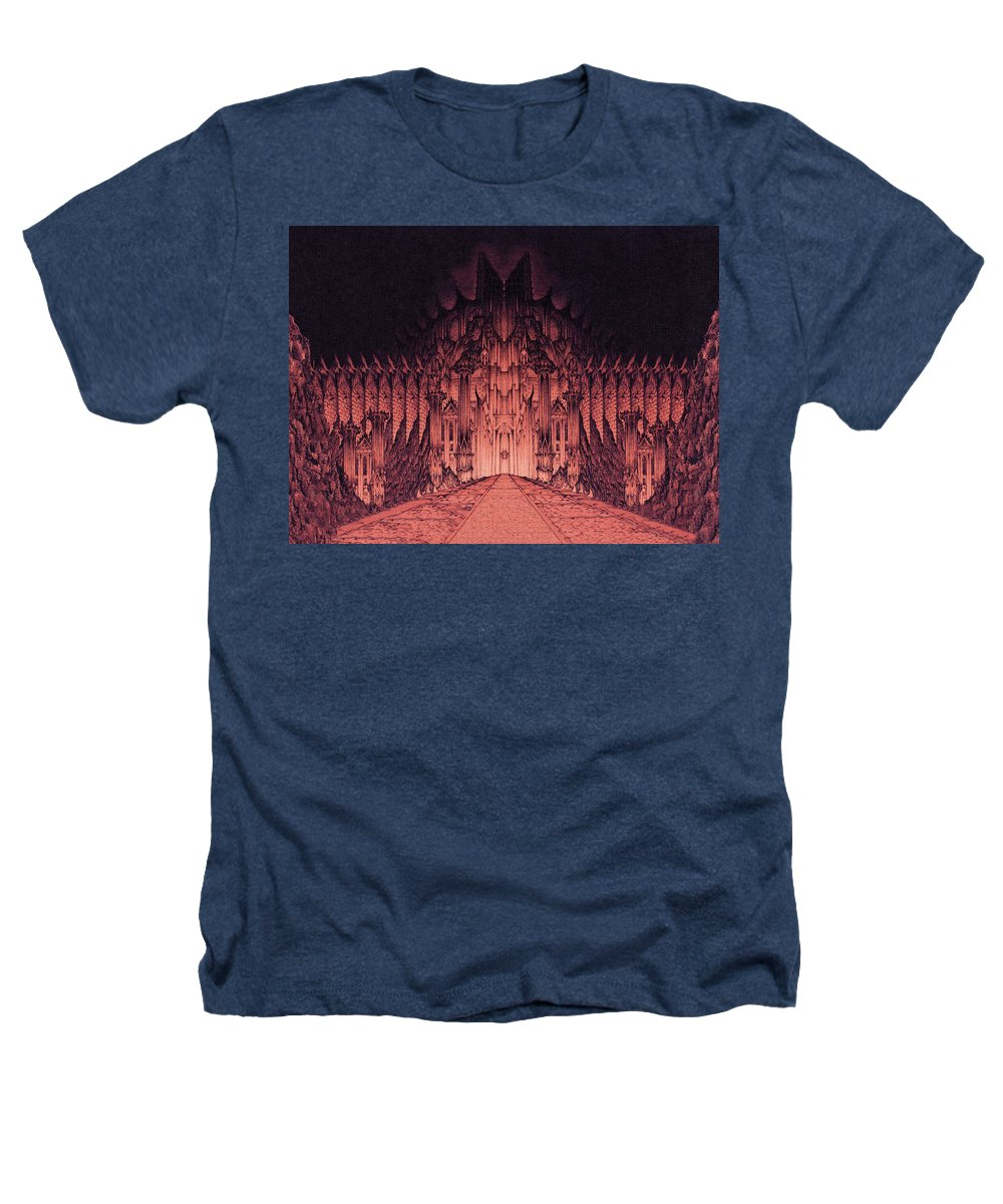 Barad Dur Heathers T-Shirt featuring the drawing The Walls Of Barad Dur by Curtiss Shaffer