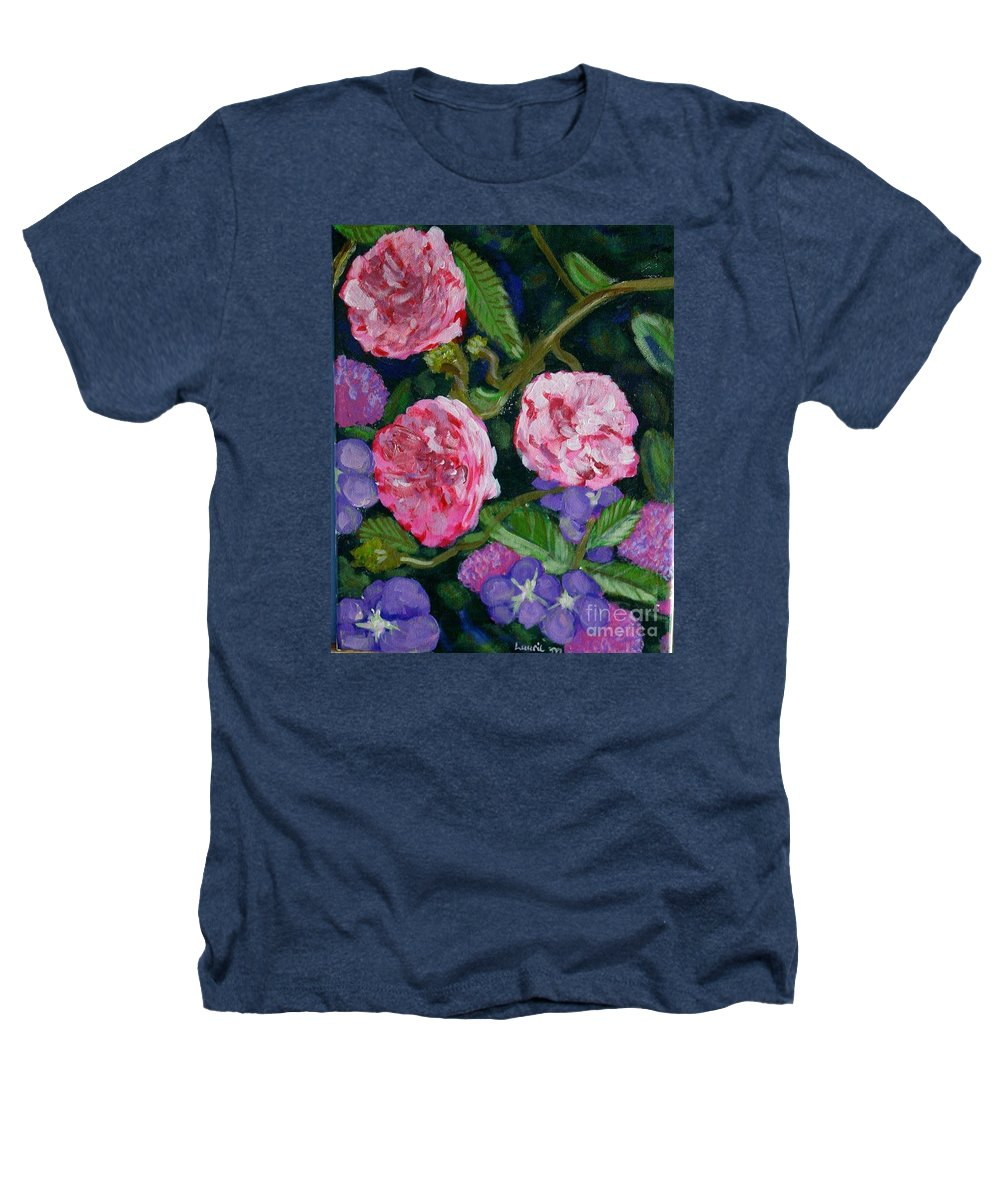 Roses Heathers T-Shirt featuring the painting Three For The Show by Laurie Morgan
