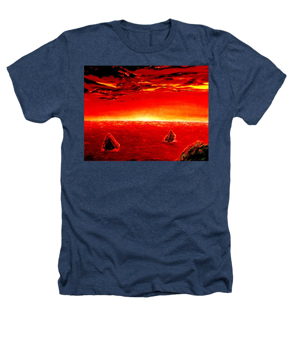 Seascape Heathers T-Shirt featuring the painting Three Rocks In Sunset by Mark Cawood