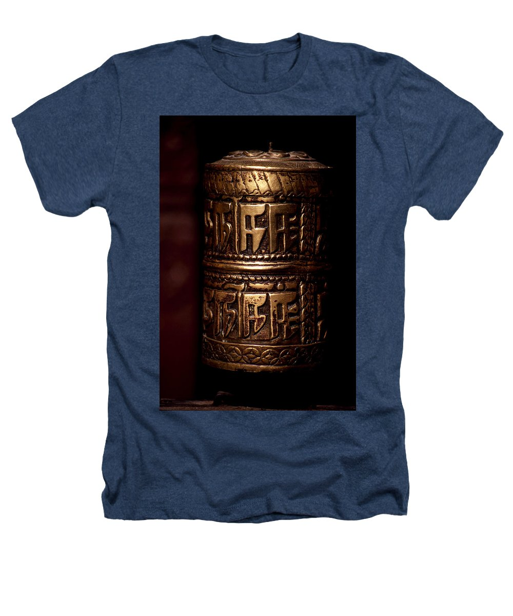 Prayer Wheel Heathers T-Shirt featuring the photograph Tibetan Prayer Wheel by Patrick Klauss