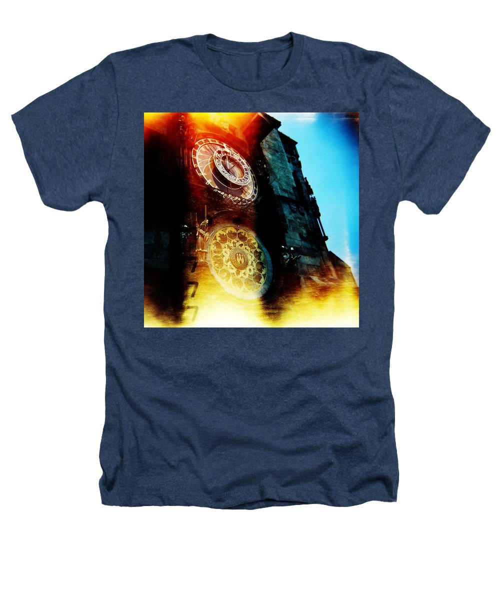 Clock Time Holga Color Photograph Praha Heathers T-Shirt featuring the photograph Time Is Burning by Olivier De Rycke