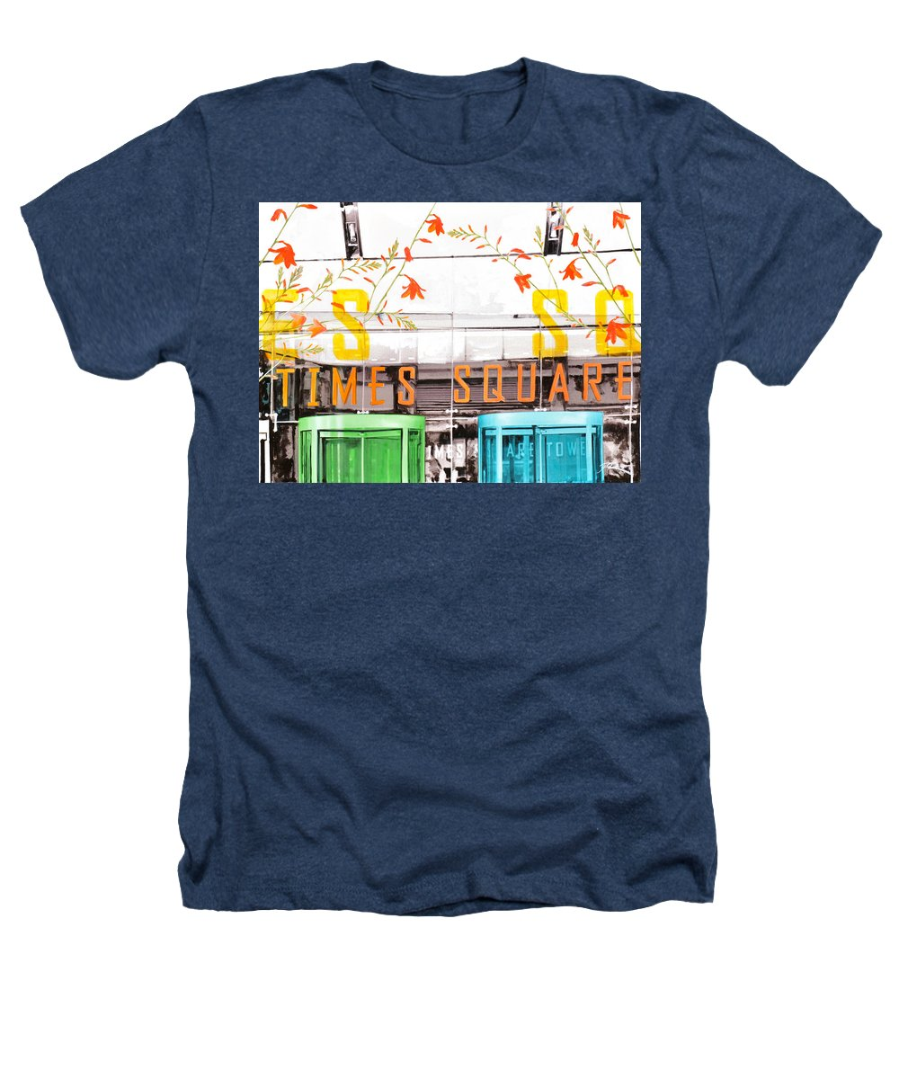 Ny Heathers T-Shirt featuring the painting Times Square Tower by Jean Pierre Rousselet
