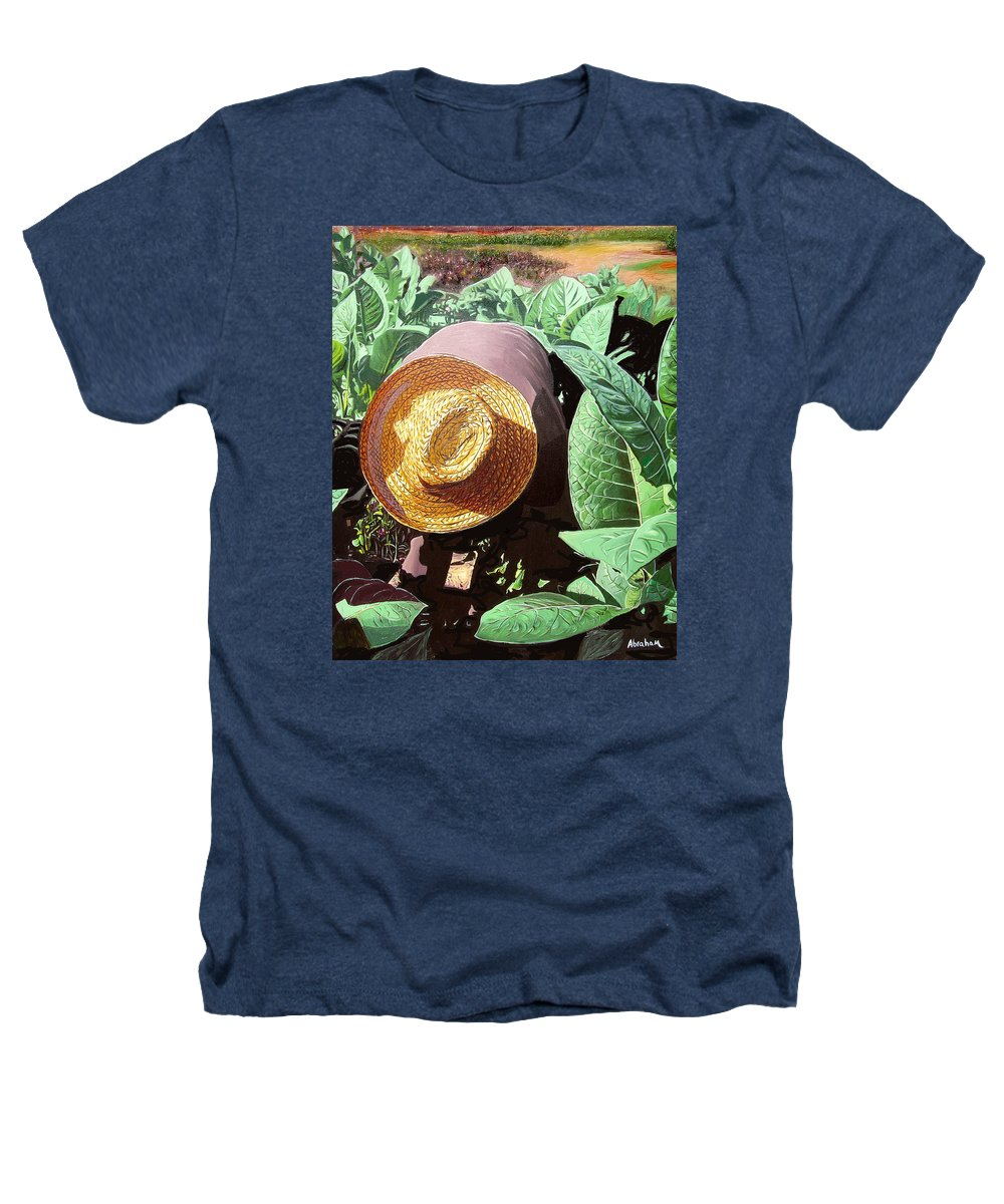Tobacco Heathers T-Shirt featuring the painting Tobacco Picker by Jose Manuel Abraham