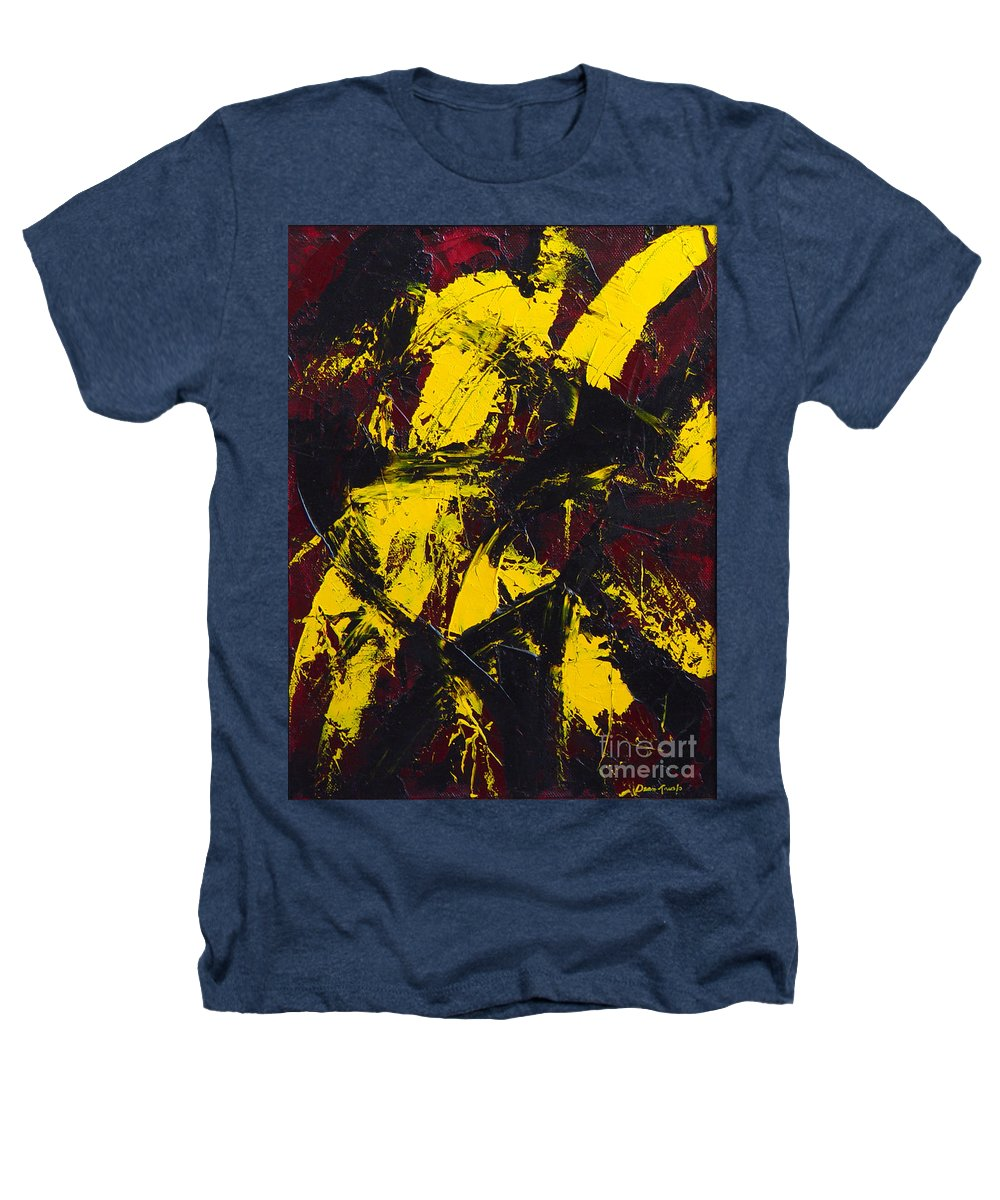 Abstract Heathers T-Shirt featuring the painting Transitions With Yelllow And Black by Dean Triolo