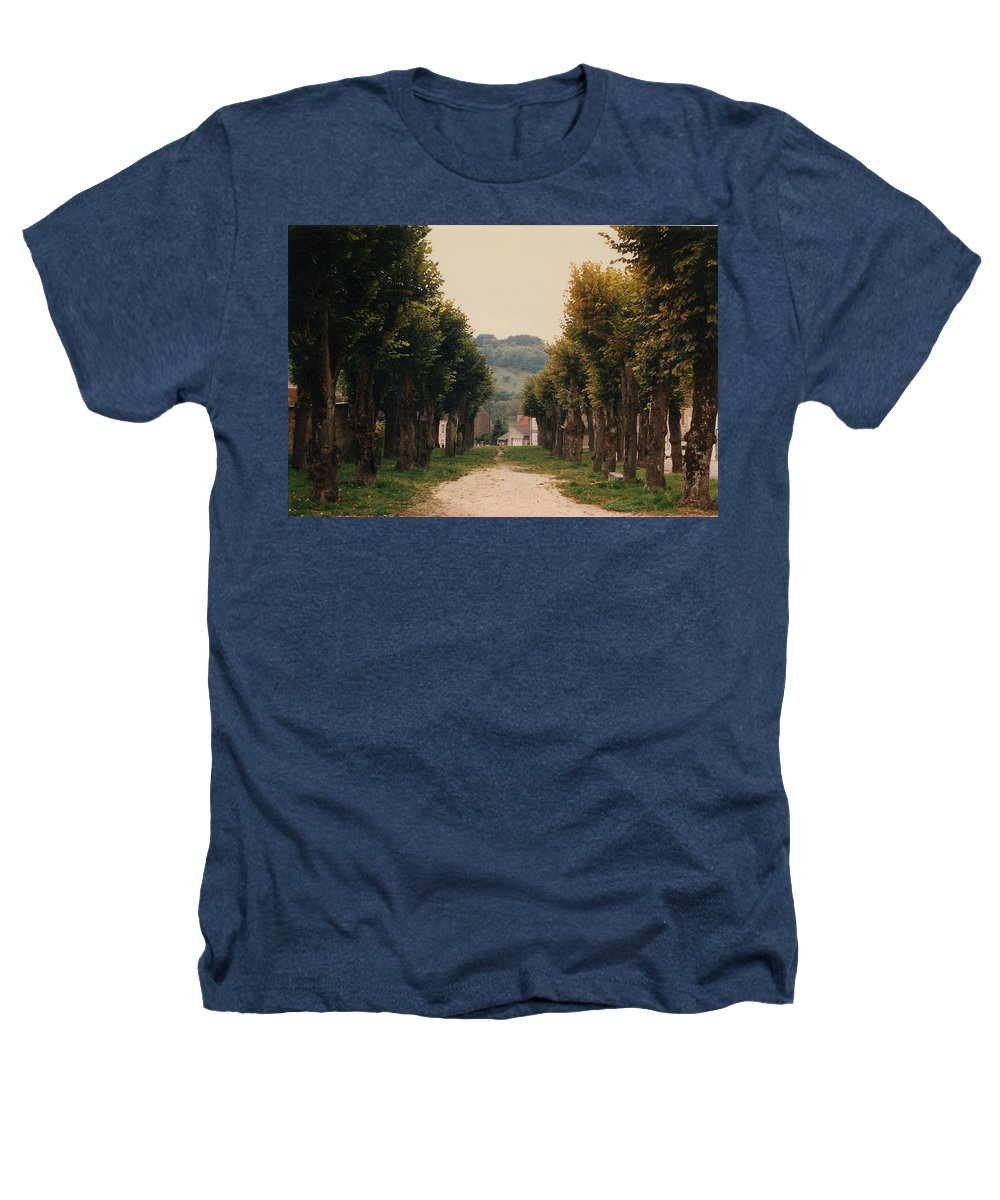 Trees Heathers T-Shirt featuring the photograph Tree Lined Pathway In Lyon France by Nancy Mueller