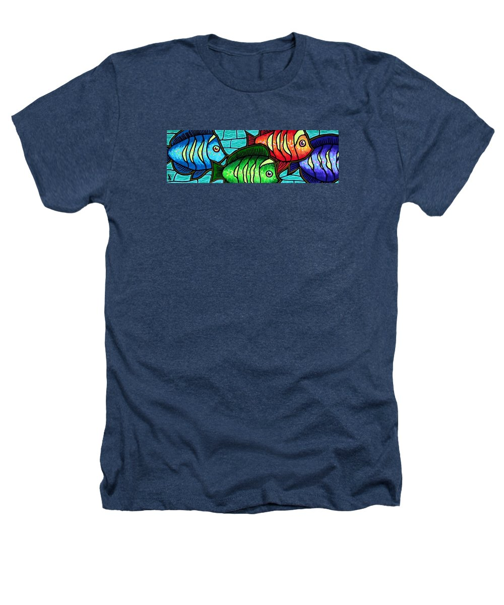Tropics Heathers T-Shirt featuring the painting Tropic Swim by Jim Harris