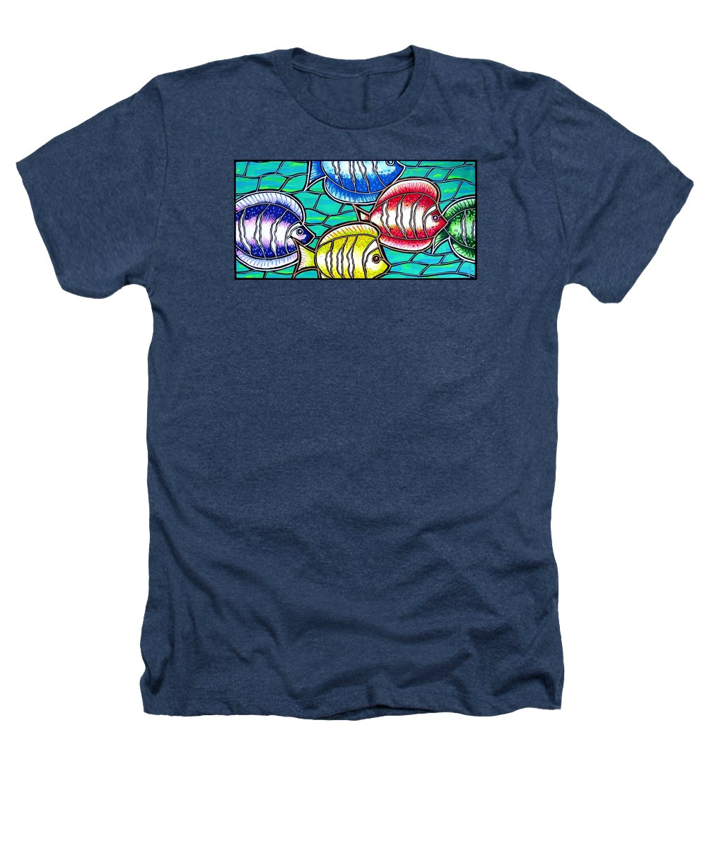 Fish Heathers T-Shirt featuring the painting Tropical Fish Swim by Jim Harris