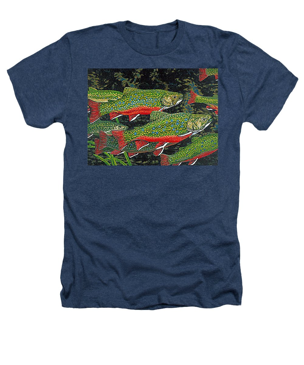 Art Heathers T-Shirt featuring the painting Trout Art Brook Trout Fish Artwork Giclee Wildlife Underwater by Baslee Troutman