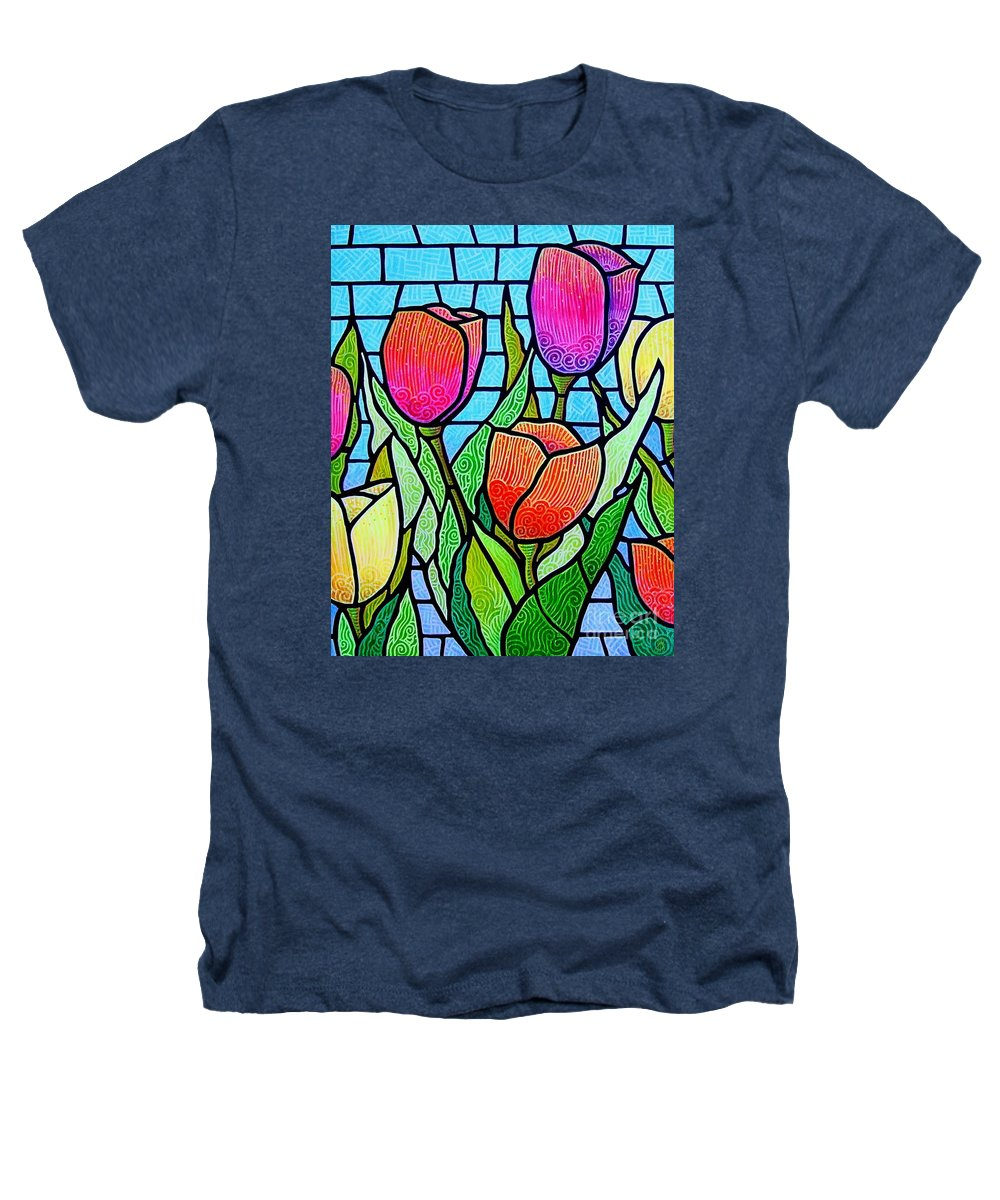 Tulips Heathers T-Shirt featuring the painting Tulip Garden by Jim Harris