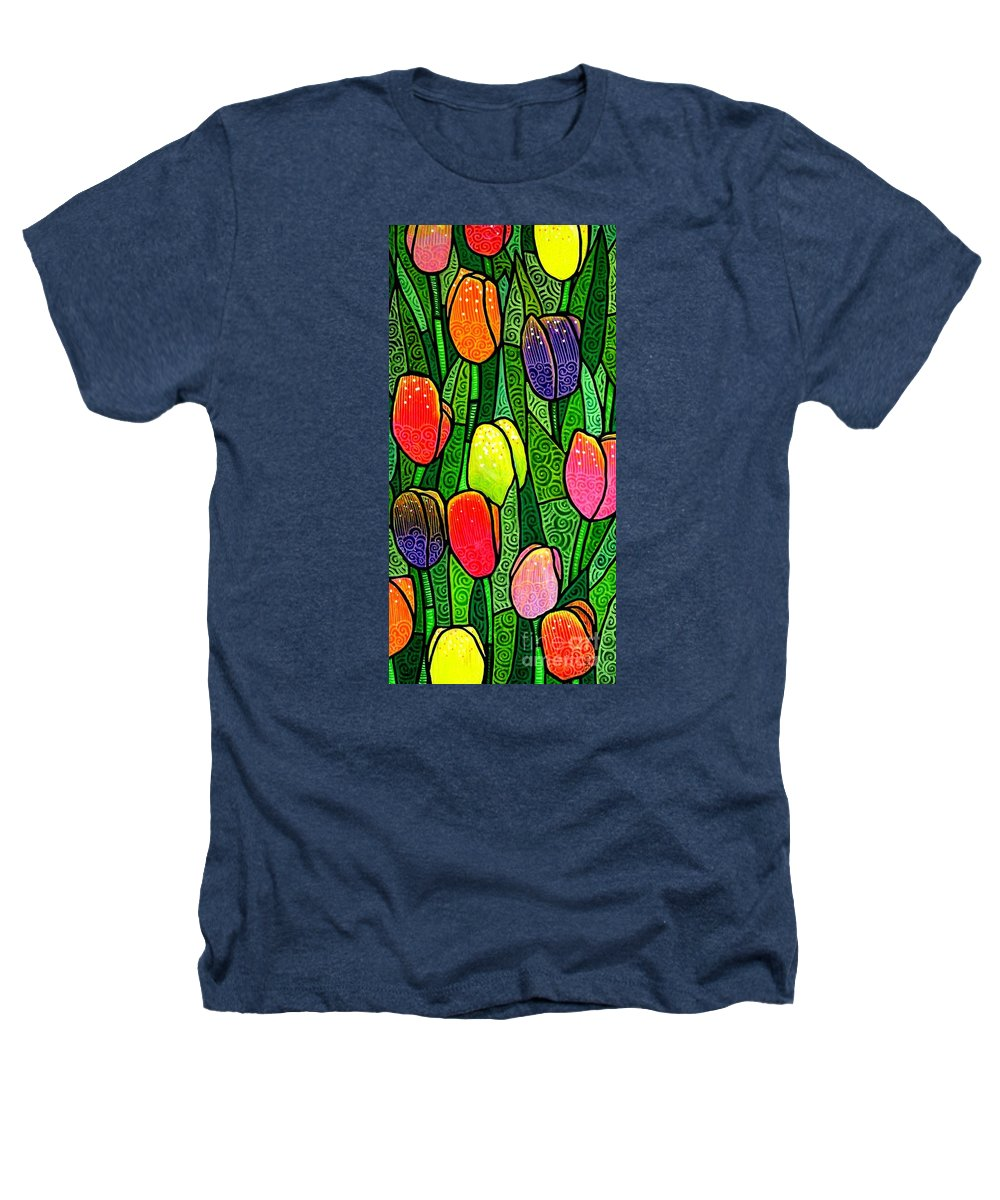 Tulips Heathers T-Shirt featuring the painting Tulip Glory by Jim Harris