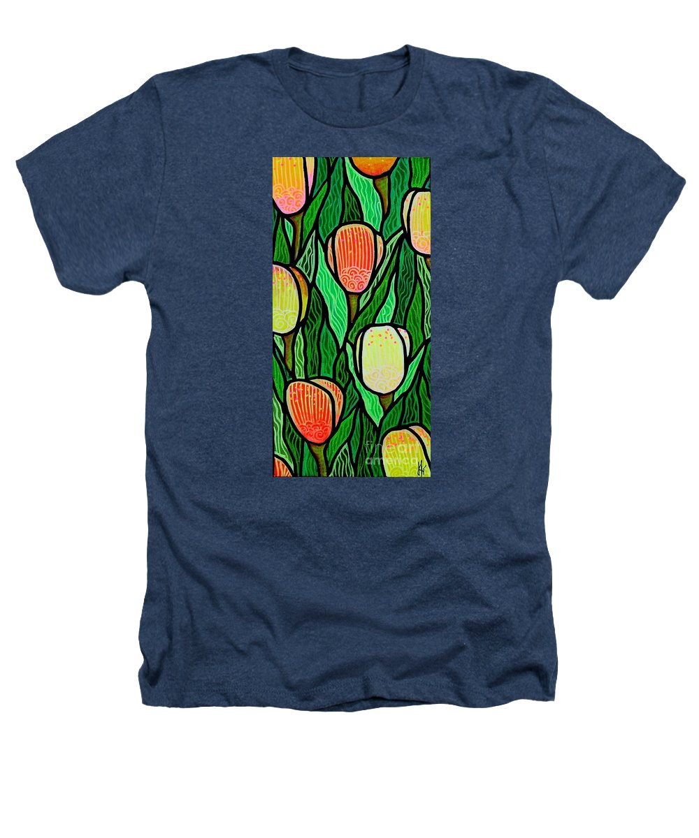 Tulips Heathers T-Shirt featuring the painting Tulip Joy 2 by Jim Harris