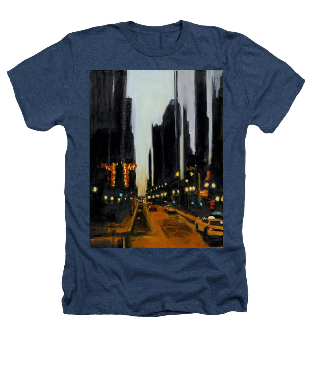 Rob Reeves Heathers T-Shirt featuring the painting Twilight In Chicago by Robert Reeves