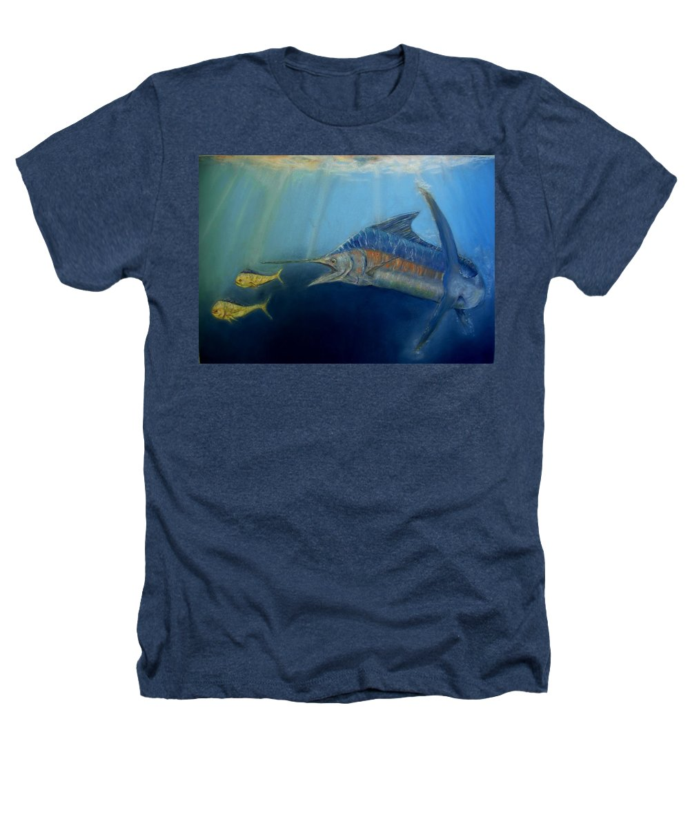 Marine Wildlife Heathers T-Shirt featuring the pastel Two For Lunch by Ceci Watson