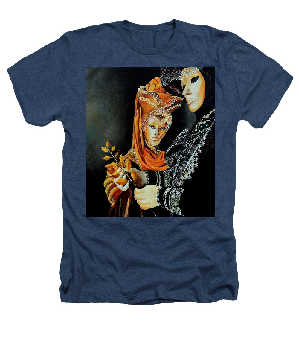 Mask Venice Carnavail Italy Heathers T-Shirt featuring the painting Two Masks In Venice by Pol Ledent