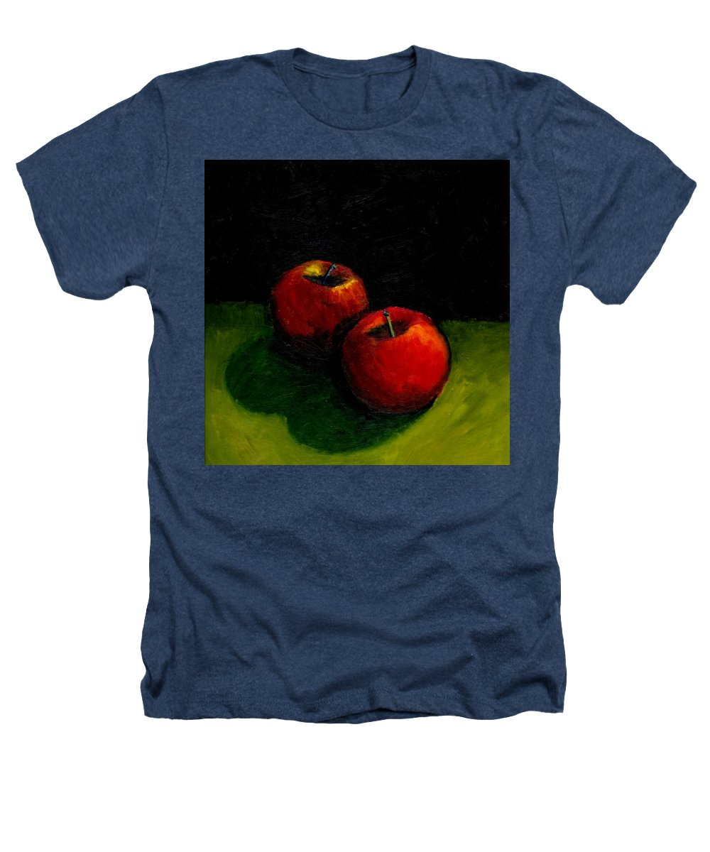 Red Heathers T-Shirt featuring the painting Two Red Apples Still Life by Michelle Calkins