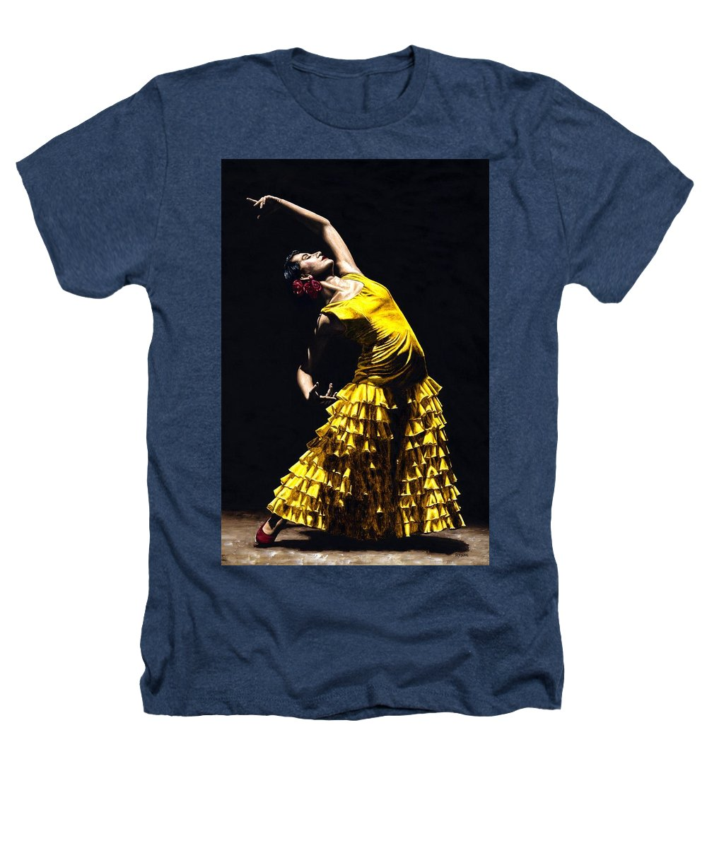Flamenco Heathers T-Shirt featuring the painting Un Momento Intenso Del Flamenco by Richard Young